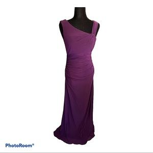 cachet long draped egg plant evening gown NWT 4